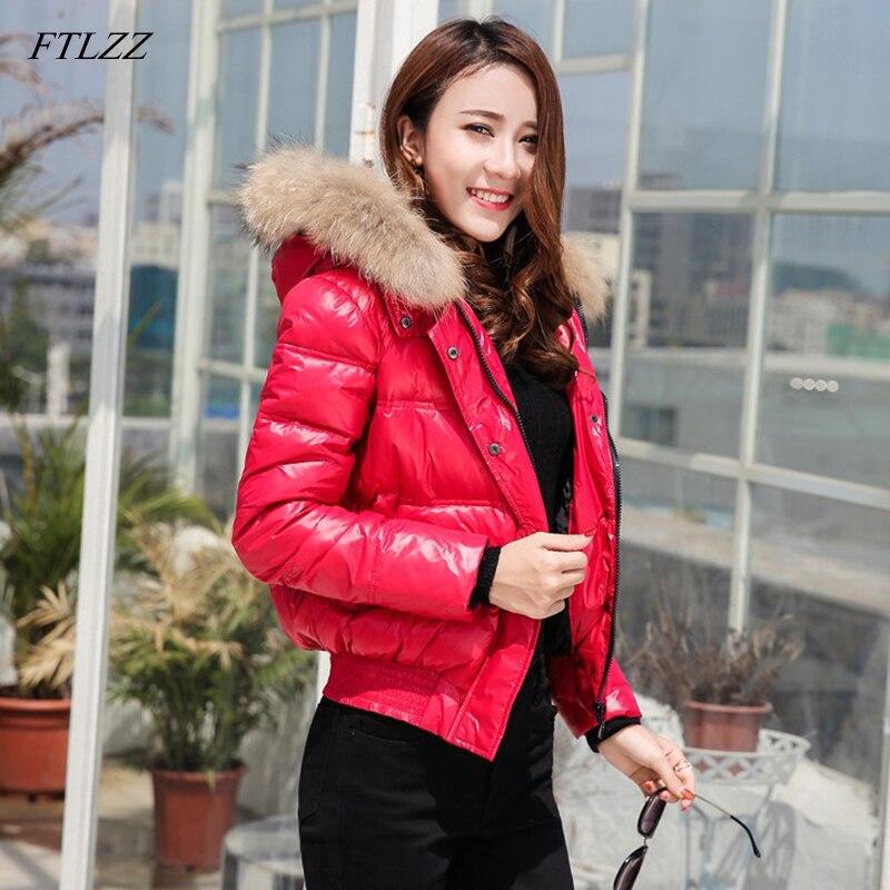 FTLZZ Winter Short Jacket Down Coat Women Real Raccoon Fur Collar Hooded White Duck Down Parkas Ladies Waterproof Snow Outerwear