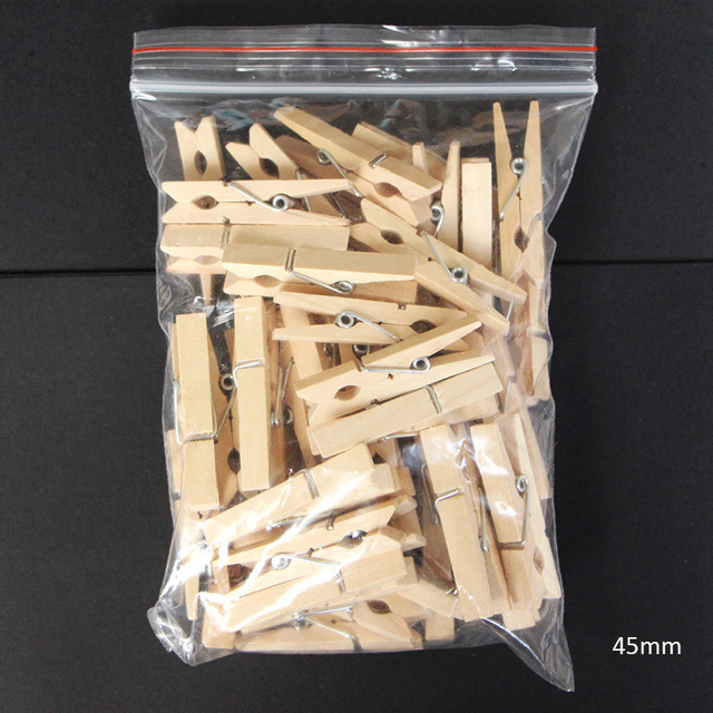 200PCS 25mm,30mm,45mm,72mm Wooden Clothes Pegs Paper Clips Clothespins For Photo Wood Clamps Wooden Clips Clothespins
