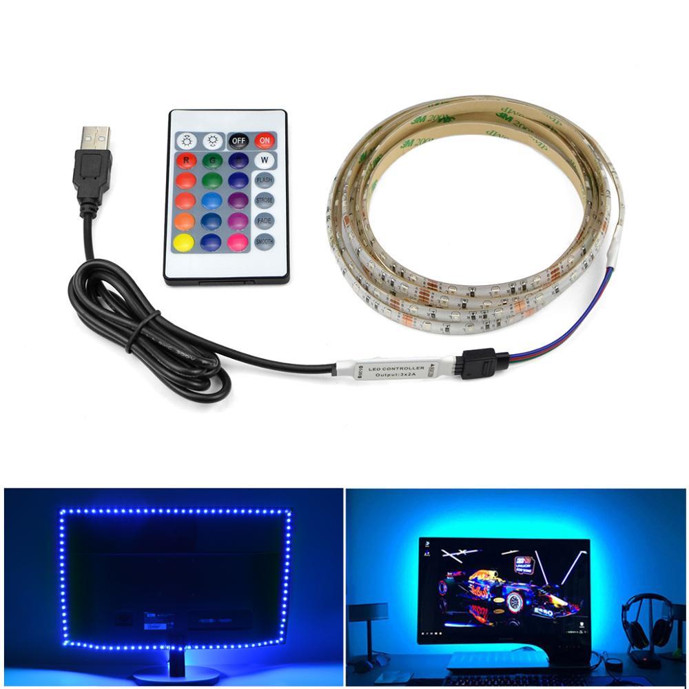 5V USB TV Led Strip Lights 3528 Led Lights 60LEDs/M fita de LED Lamp Ruban Tape Backlight RGB PC gabinete gamer Decoration Light(China)