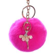 8cm Artificial Rabbit Fur Ball Keychain Women Fashion Jewelry Gifts Crystal Dancing Girl Key Chain Holder Ring