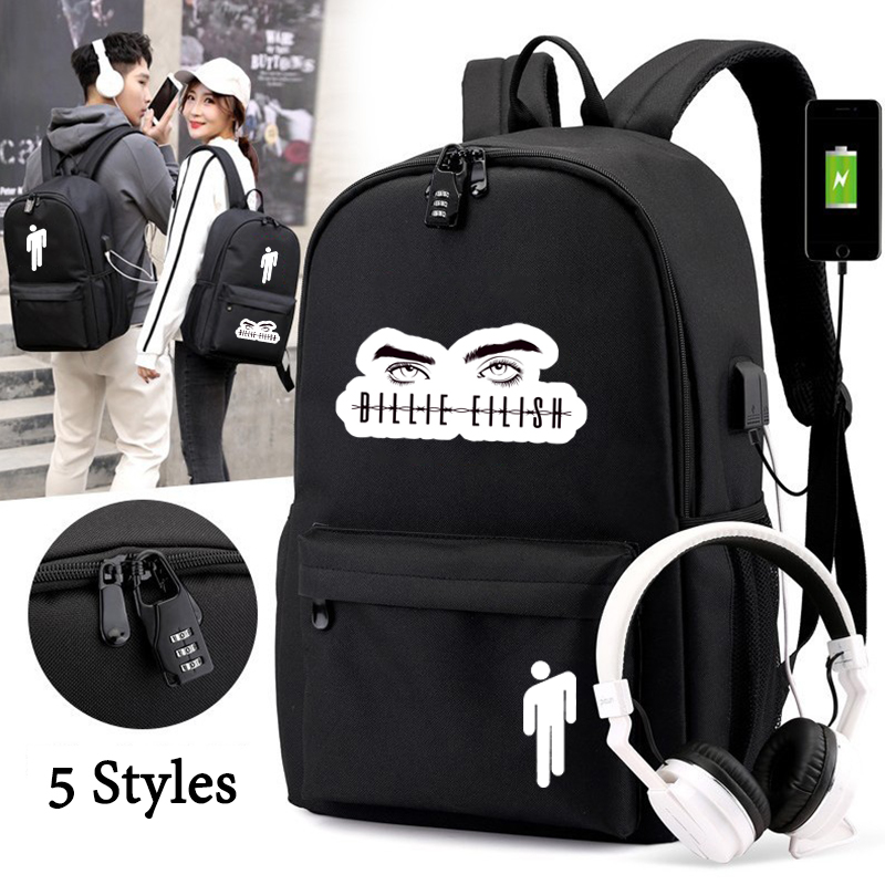 IMIDO Billie Eilish Student Backpack Teenagers USB Charging Anti-thief School Bags New Style Boys Girls Cool Back To School Bags