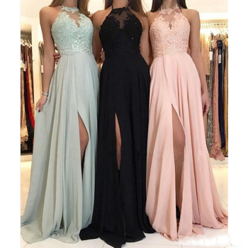 New Elegant Halter Chiffon Long Bridesmaid Dresses Lace Applique Split Wedding Guest Dress Maid Of Honor - discount item  4% OFF Wedding Party Dress