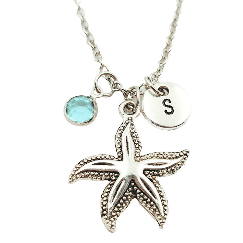 Starfish Animal Creative Initial Letter Monogram Birthstone Necklace Fashion Jewelry Women Christmas Gifts Accessories Pendants Chain Necklaces Aliexpress