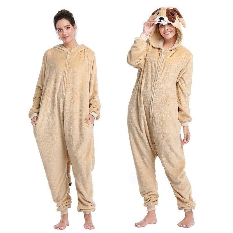 Flannel Anime Christmas Onesie Dog Kigurumi Pajamas Cartoon Cosplay Onesies For Adults Men/women Sleepwear Kigurumi For Couple