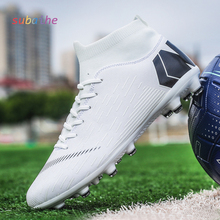 Latest professional game men's high waist long nails and broken soccer shoes outdoor kids training on turf sneakers socks