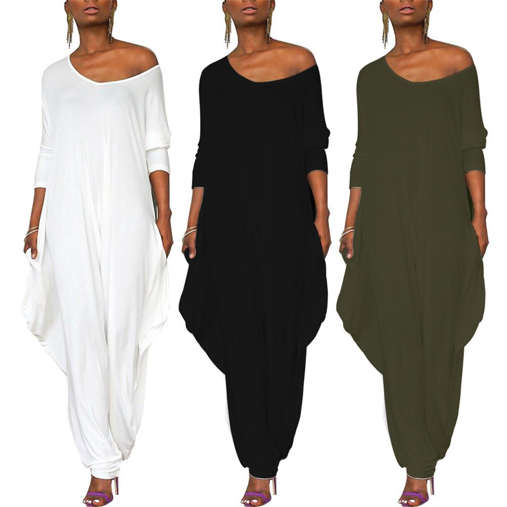 Hot Casual Solid Color Long Sleeve Baggy Jumpsuit Women One-piece Loose Romper