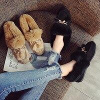 Shoes Women Rabbit Fur Flats Loafers Metal Decoration Round Toe Shoes Warm Winter Slip on Furry Slides Plus Size Black Khaki