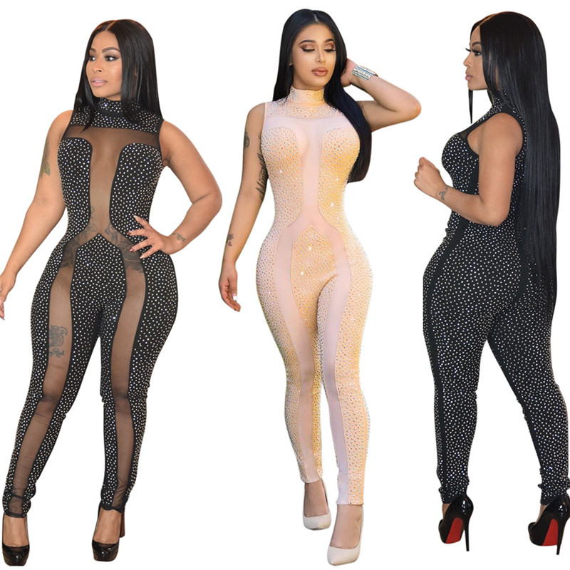 Rhinestone Jumpsuit Women Summer Sleeveless Sheer Mesh Patchwork Club Bodycon Jumpsuit Long Pants Romper Party Jumpsuits Catsuit