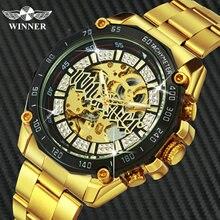 الفائز الرسمي الهيب هوب الذهبي ساعة أوتوماتيكية الرجال الماس مثلج خارج الهيكل العظمي ساعات آلية العلامة التجارية الفاخرة فاسق ساعات المعصم