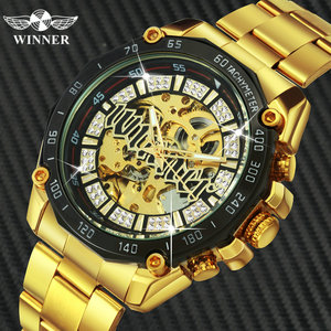 Image 1 - WINNER Official HIP HOP Golden Automatic Watch Men Diamond Iced Out Skeleton Mechanical Watches Brand Luxury Punk Wristwatches