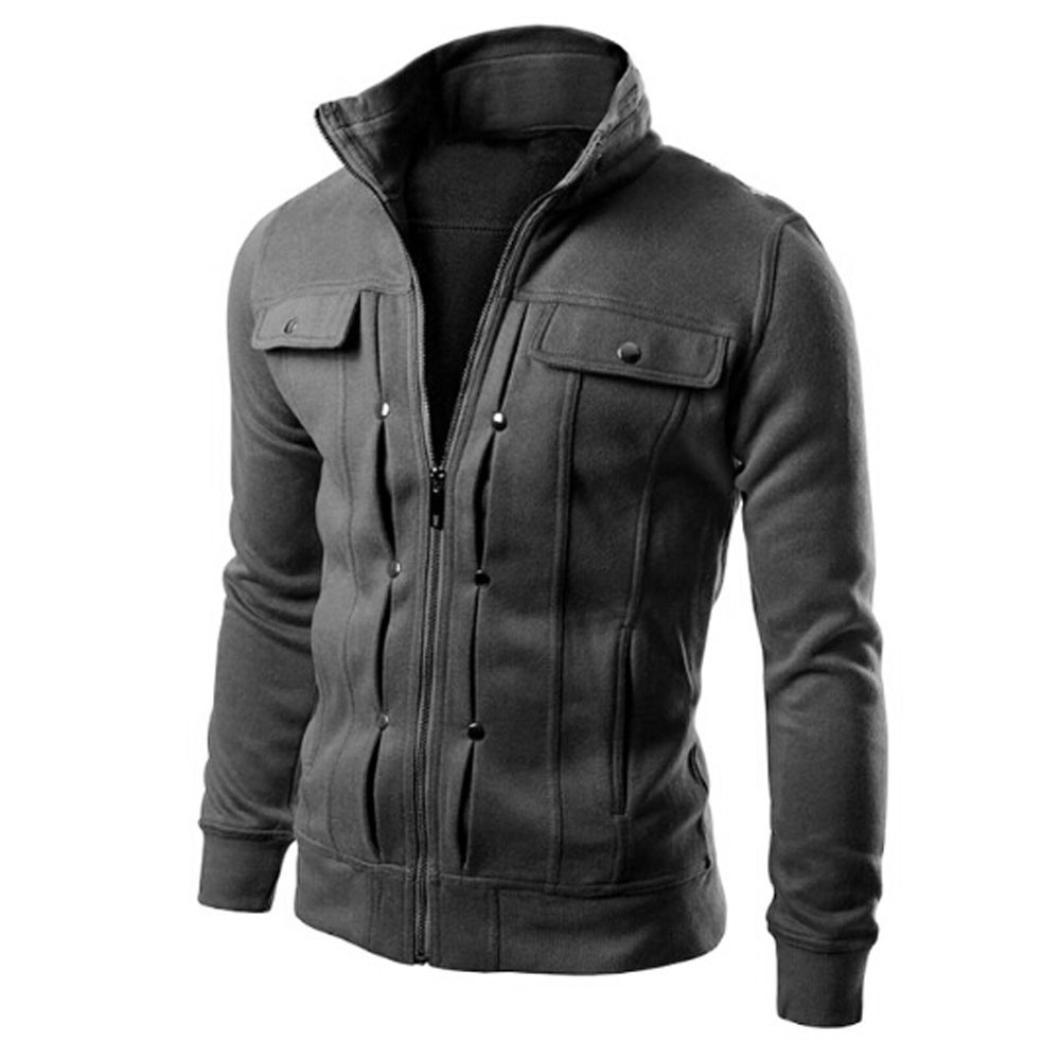 JAYCOSIN Men's Coats Fashion Mens Coats Sweatshirt Designed Lapel Male Windbreaker Jackets Cardigan Coat Jacket Cotton Solid