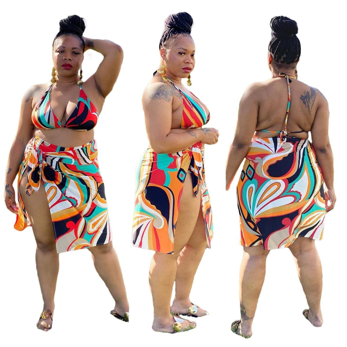 2021 Large Size Summer Fashion New Bikini Print Split Swimsuit Three-Piece Suit