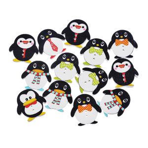 50pcs/lot Lovely Painting Penguin Wooden Sewing Buttons For Children Clothing Decorative Wood Accessories For Needlework DIY