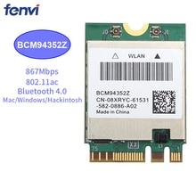 867Mbps Draadloze AC1200 BCM94352Z 867Mbps Bt 4.0 802.11ac Ngff M.2 Wifi Wlan Kaart Voor Laptop Venster Mac Hackintosh os