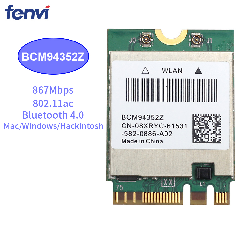 867Mbps Wireless AC1200 Broadcom BCM94352Z  867Mbps BT 4.0 802.11ac NGFF M.2 WiFi WLAN Card For Laptop Window Mac Hackintosh OS