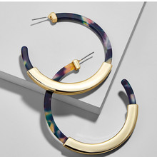 Fashion Bohemia Acrylic Acetate Hoop Earrings for Women Vintage Leopard Print Circle Hoops Alloy Earring  jewelry Female 2019