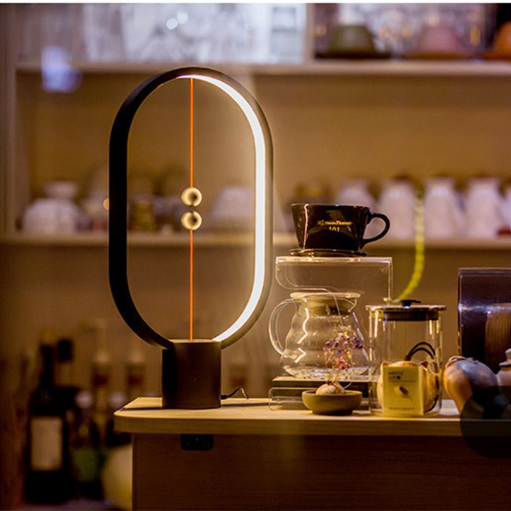 Magnetic Lamp Balance  Lighting Lights LED Ellipse Desk Lamp Magic Floating Balls Switch USB Powered Lamps Dropshipping
