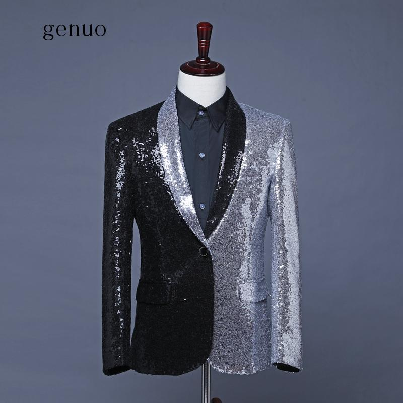 <font><b>Men</b></font> Black Silver <font><b>Sequins</b></font> Suit <font><b>Jacket</b></font> Shawl Lapel Fashion Casual <font><b>Blazers</b></font> Host Singer Stage Costumes Dancer Groom <font><b>Jackets</b></font> image