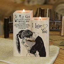 To Girlfriend To My Girl - I love you - Candle Holder with Candle Gift for Birthday Anniversary