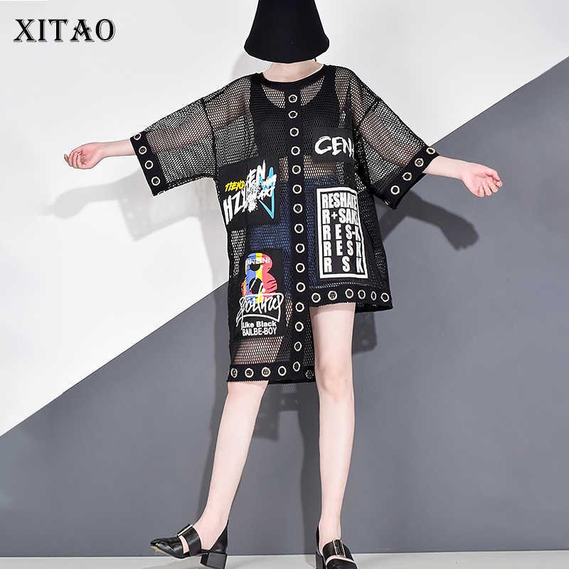 XITAO 중공 스플 라이스 그리드 여성 T 셔츠 여름 플러스 사이즈 Streetwear 한국어 스타일 의류 인쇄 편지 블랙 네트 탑스 WBB3401