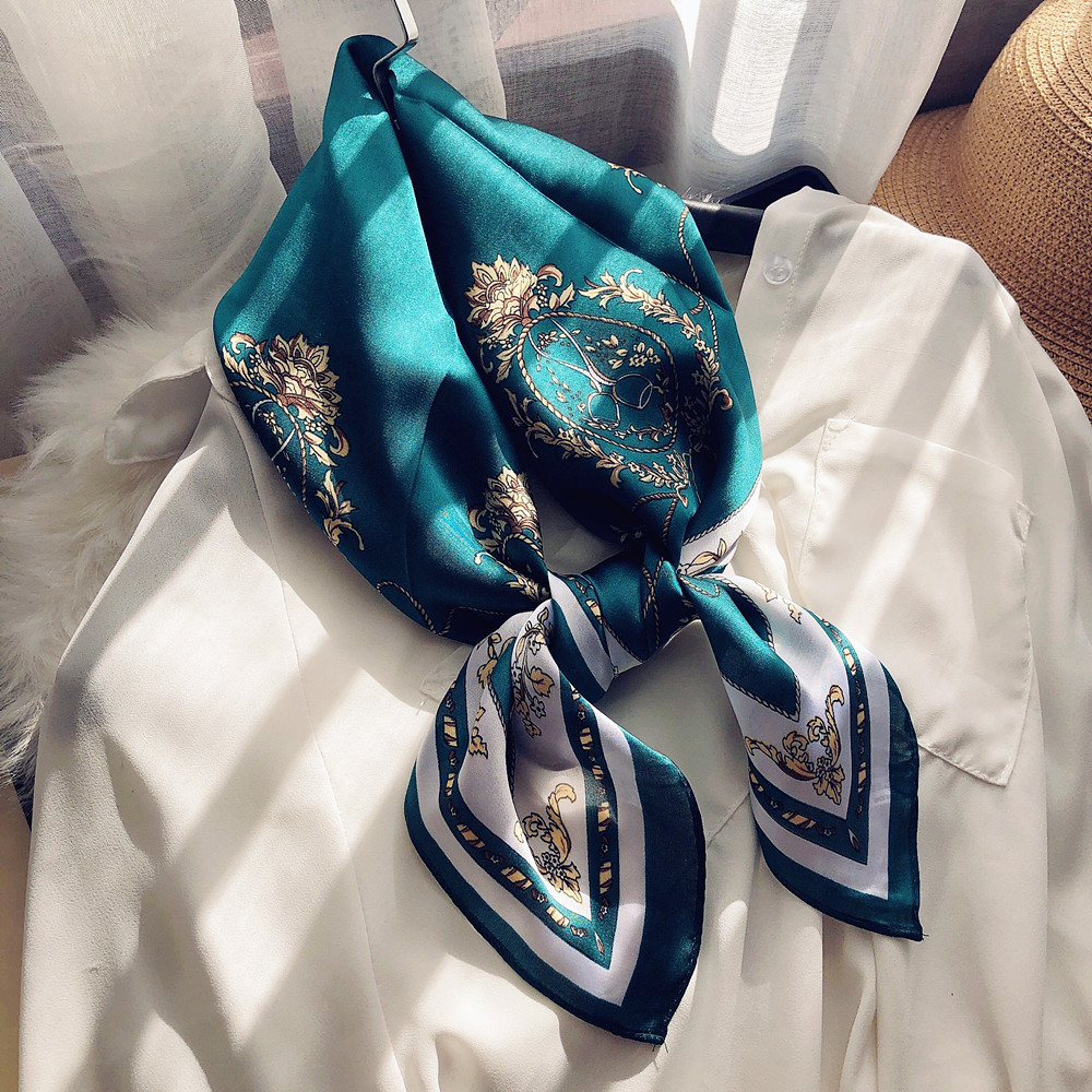 Fashion Women Neck Scarf For Hair Small Shawls Printed Bag Scarfs Female 70*70cm Cute Headband Head Scarves For Ladies Dropship