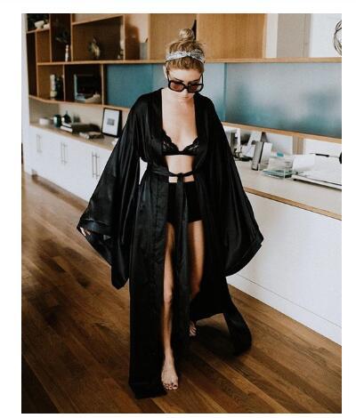 Fashion Sexy Pajama Dress Lingerie With Robe Long Sleeve Lace Nightgown With Belt Sleepwear Satin Women Bridesmaid Bathrobe