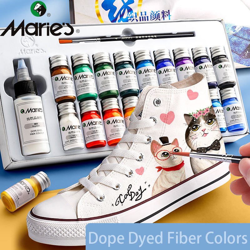 Marie's Dope-Dyed Fiber Permanent Fabric Paint Set 12/36 Colors 10ml/Tube Textile Acrylic Paints for Clothes Canvas Waterproof