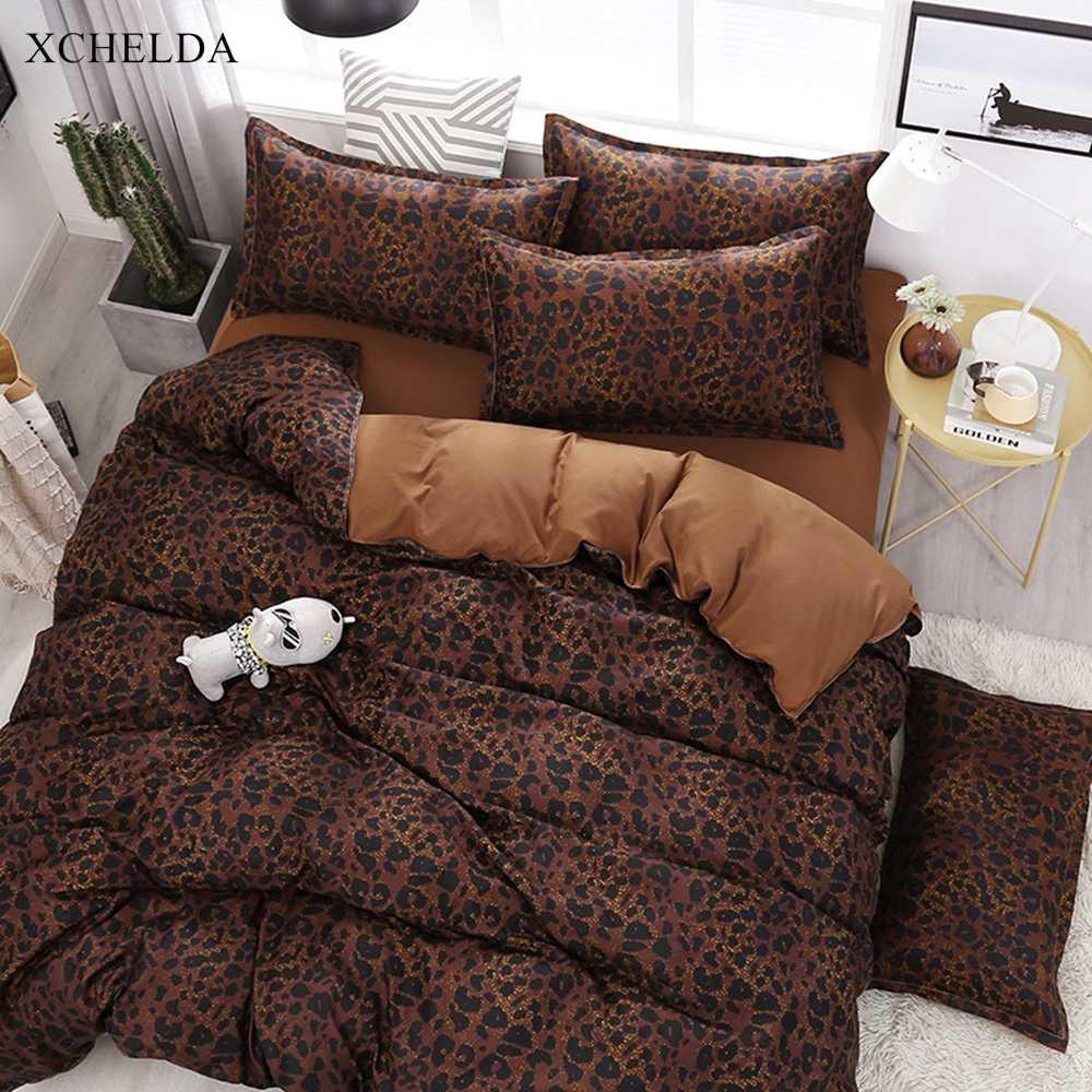 Duvet Cover set Double Queen Brown Aesthetic Leopard Bedspread Kids Single Bed sheet Pillowcases 4pcs Bedding set Family Bedding Sets AliExpress