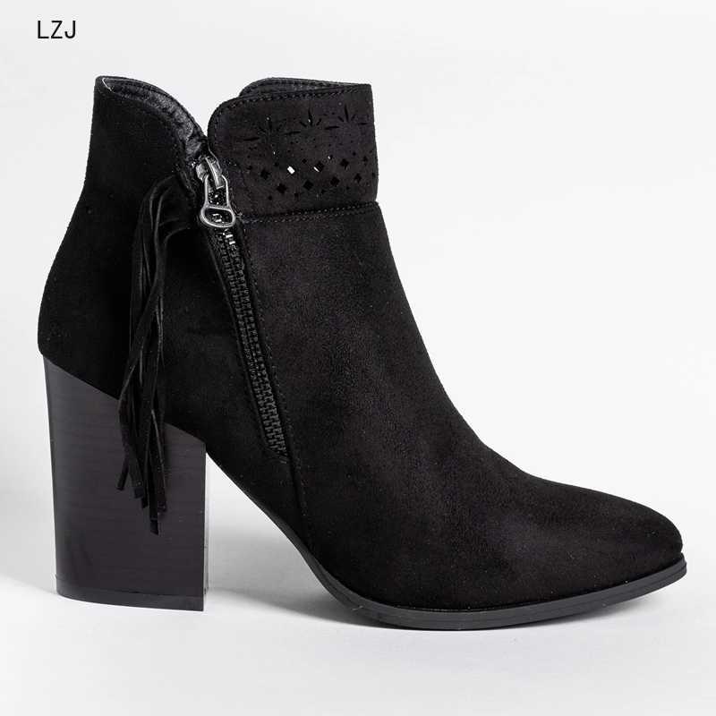 2019 Nova Moda de Couro de Vaca Botas de Camurça Tornozelo Mulheres Sapatos Mulher Lazer Moda Sapato Bota Sapatinho Feminino Dropshipping Tamanho 43