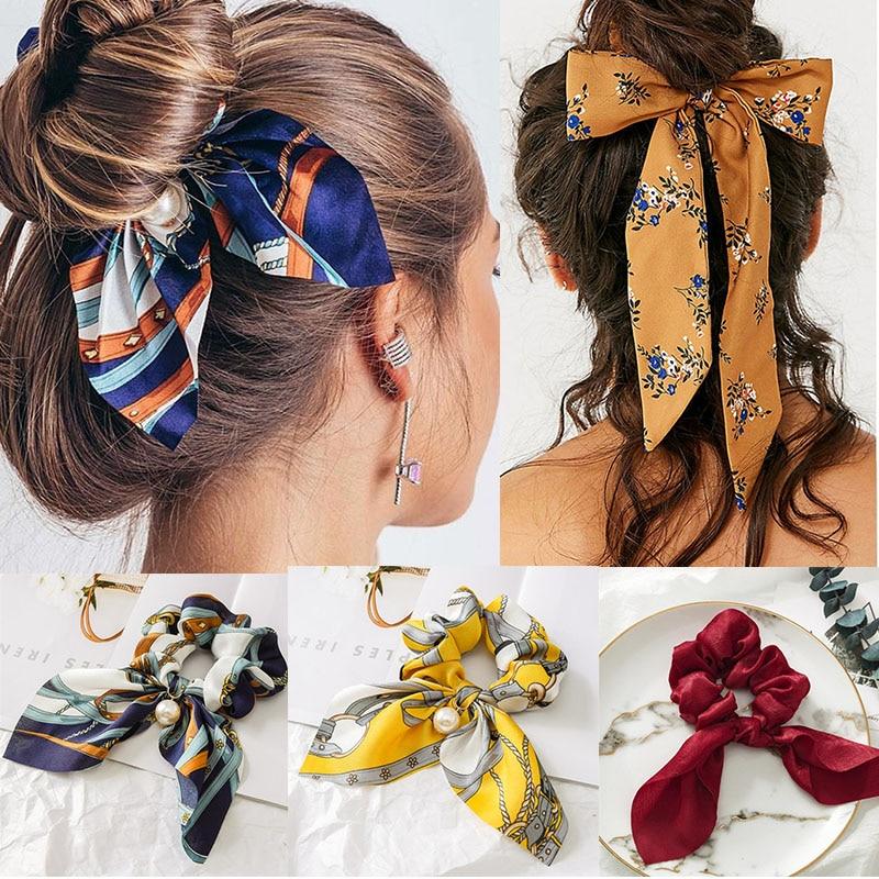 2019 New Chiffon Bowknot Silk Hair Scrunchies Women Pearl Ponytail Hair Rope Holder Rubber Bands Hair Accessories
