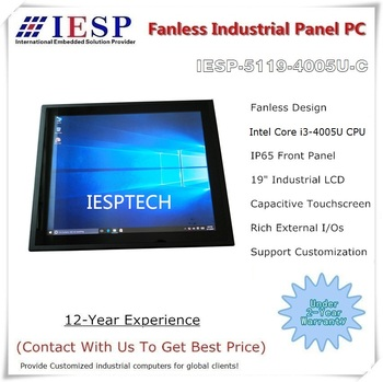 19 inch Fanless Industrial Panel PC, Capacitive Touchscreen, Core i3-4005U CPU, 4G DDR3L, 64GB SSD, 4*RS232, 4*USB,1*GLAN