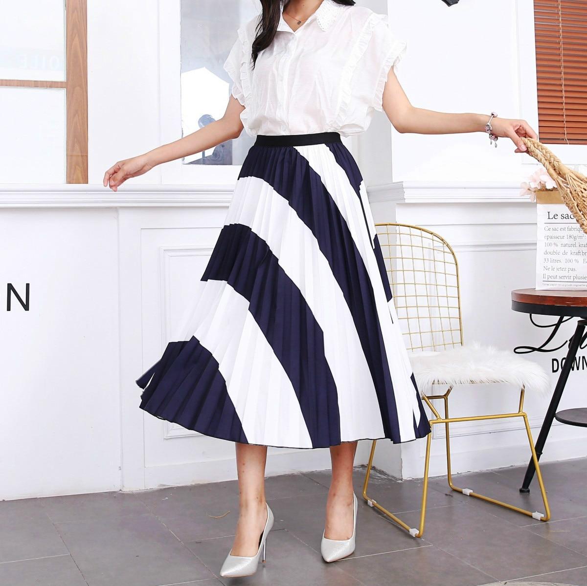 2020 New Summer Skirts Womens Butterfly Catroon Print Empire High Waist Elastci Pleated Midi Skirt European High Street Style 10