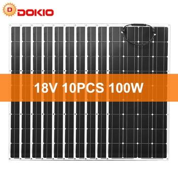 Dokio 18V 1000W Flexible Monocrystalline Solar Panel For Car/Boat/ Home  Charge 12V Waterproof Solar Panel China 1