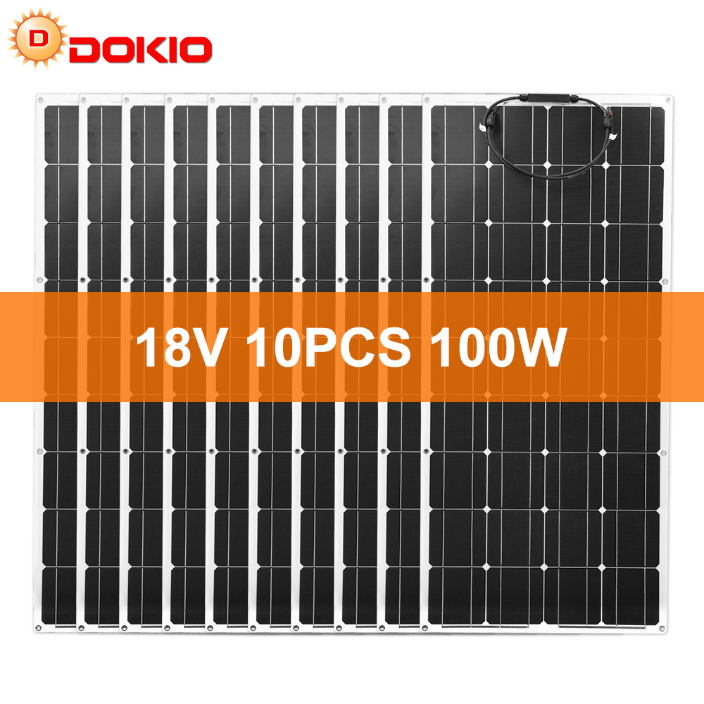 Dokio 18V 1000W Flexible Monocrystalline Solar Panel For Car/Boat/ Home  Charge 12V Waterproof Solar Panel ChinaSolar Cells   - AliExpress