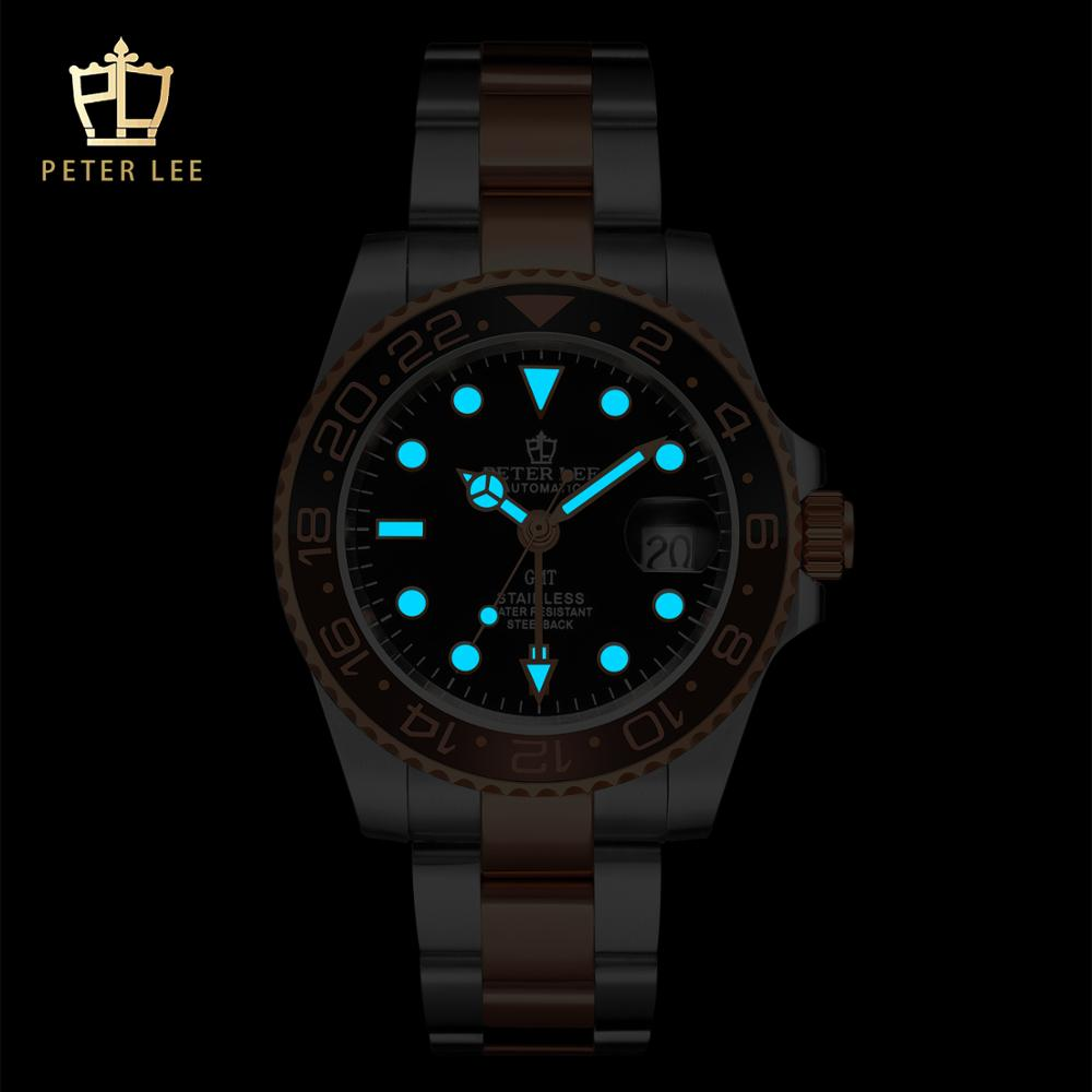 PETER LEE classic ceramic bezel luxury daydate mechanical men watches noctilucous stainless steel rose gold men Best Watches For Men   PETER LEE Automatic Watch   Classic Ceramic bezel luxury daydate 40mm mechanical men watches noctilucous stainless steel rose gold men automatic watch