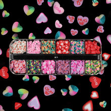 12 сетки/комплект в красном и розовом цвете для смешанные Цвет любовь Мягкая Керамика маникюрный набор патчей ко Дню Святого Валентина дизай...