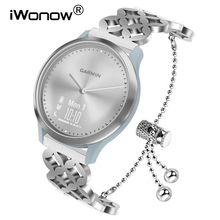 Pulseira de aço inoxidável feminino para garmin vivomove hr/vivoactive 3/forerunner 245/645 música/venu/luxe/estilo pulseira de relógio