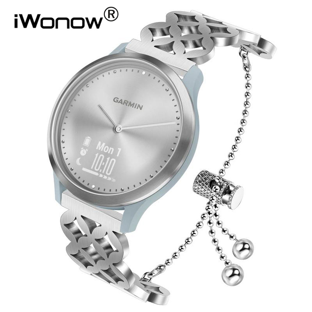 Women Stainless Steel Watchband for Garmin Vivomove HR/ Vivoactive 3/ Forerunner 245/645 Music/Venu/Luxe/Style Watch Band Strap