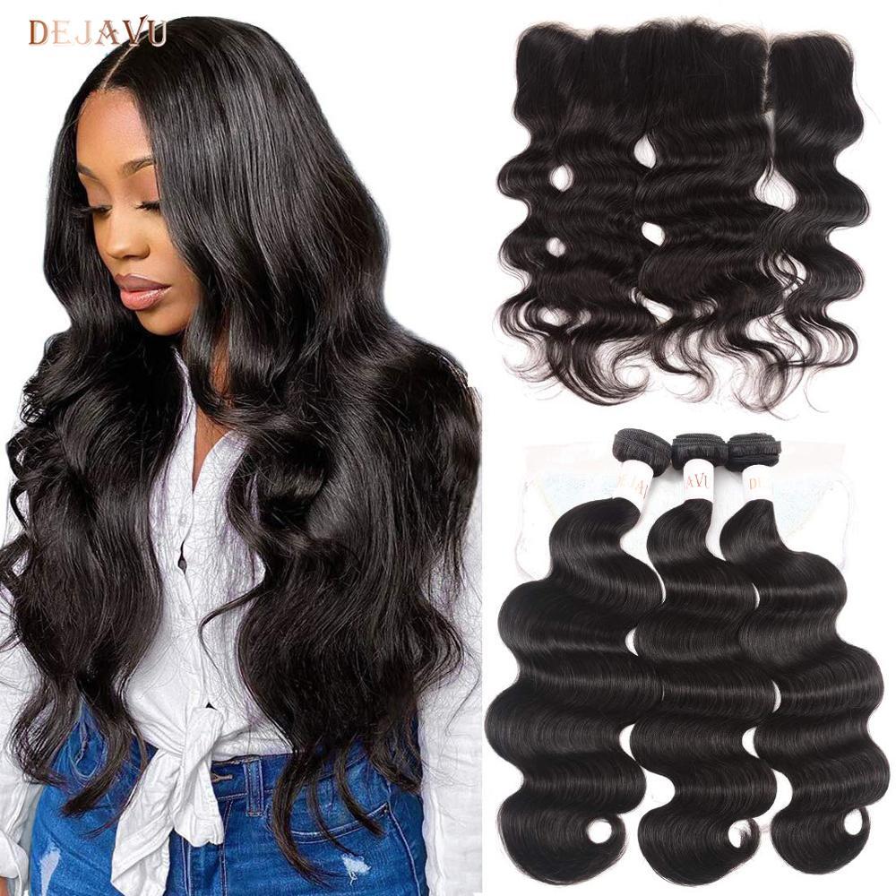 Dejavu волнистые пряди для тела с закрытием бразильские пряди волос с фронтальной пряди человеческих волос с пучком не-Remy волосы для наращиван...