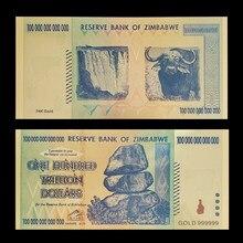 Относительная власть Зимбабве указывает на сто триллиона долларов банкнот из золота с сертификатами В позолоченном 24-каратным золотом для ...