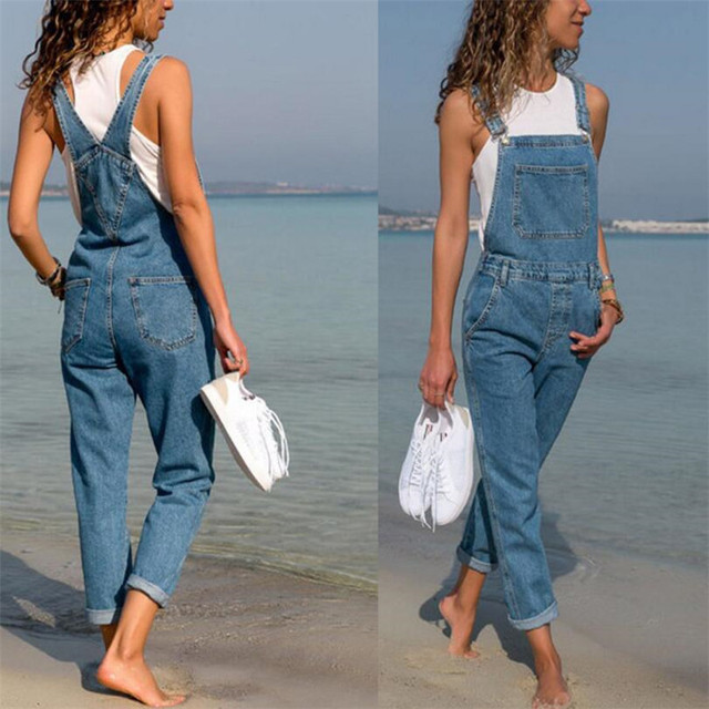 Fashion Women Ladies Baggy Denim Jeans Bib Full Length Pinafore Dungaree Overall Solid Loose Causal Jumpsuit Pants Hot