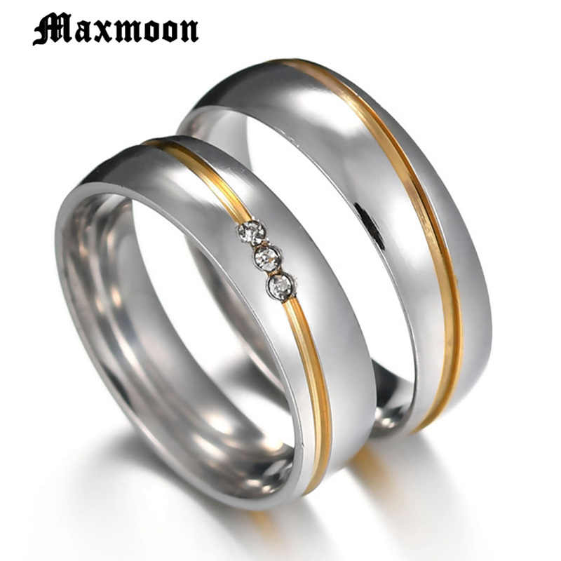 Maxmoon  2019 New  Gold color Stainless Steel Wedding Bands Shiny Crystal Ring for Female Male Jewelry 6mm Engagement Ring