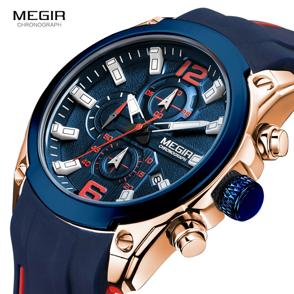 Megir Men's Chronograph Quartz Watches Luxury Waterproof Wristwatch Top Brand Military Sport Watch Men Relogios Masculino 2063