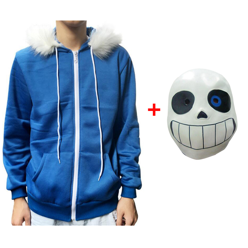 Sans Undertale Cosplay Hoodies Latex Mask FRESH SKELETON jacket sans plus velvet hooded zipper sweater animation game outfit(China)