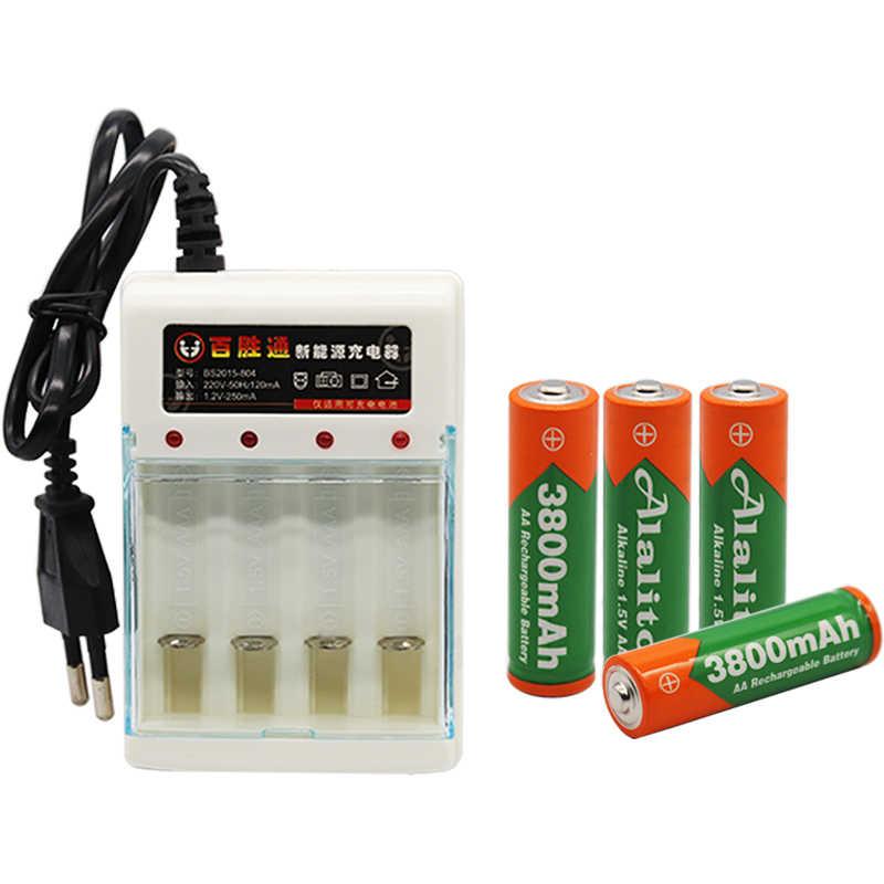 Новый бренд AA перезаряжаемая батарея 3800mah 1,5 V Новая Щелочная перезаряжаемая батарея для led светильник игрушка mp3 Бесплатная доставка с зарядным устройством