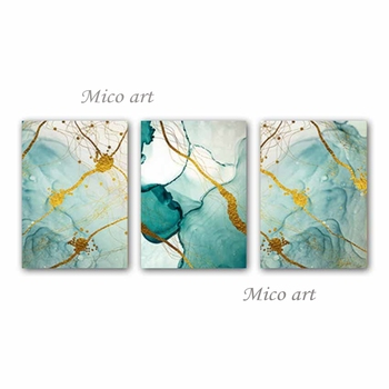 New Design 3 Pieces Unframed Abstract Oil Painting Group Wall Art Hangings Canvas Artwork Hot Selling For Living Room Home Decor