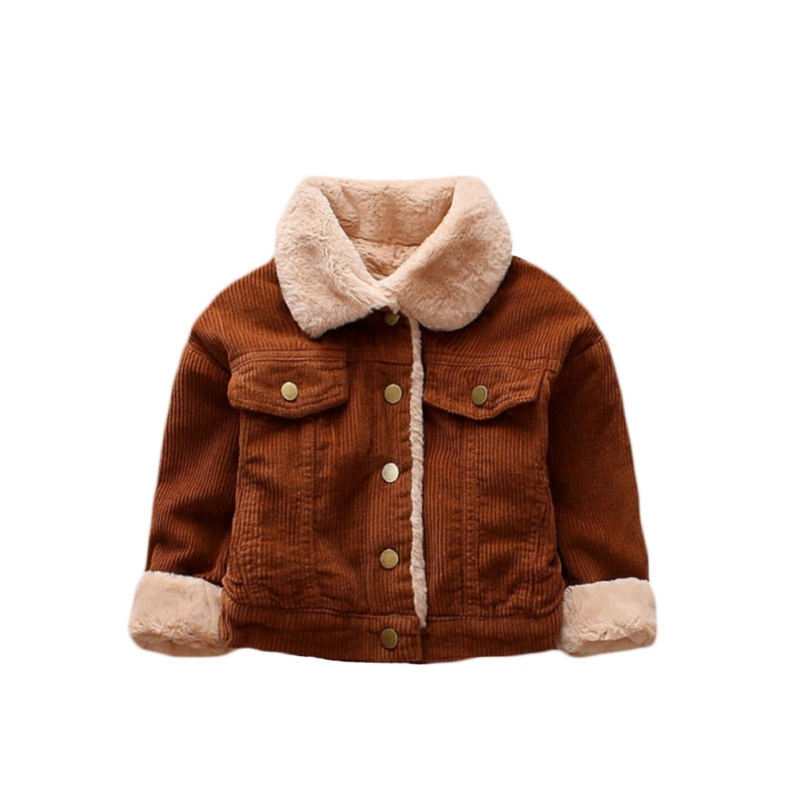 Soft Autumn Winter Casual Fashion Baby Long Sleeve Solid Color Plus Velvet Coat Kids Outerwear