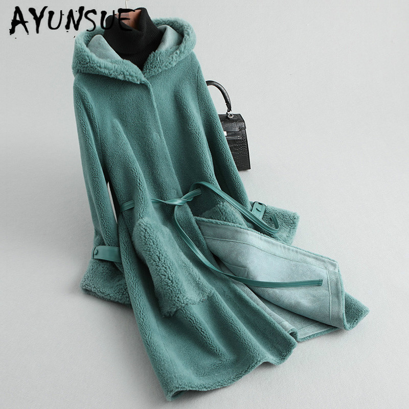 AYUNSUE Real Fur Coat Women Sheep Shearing Winter Coat Women Korean Long Wool Jacket Women Clothes 2019 KQN59455 YY1587