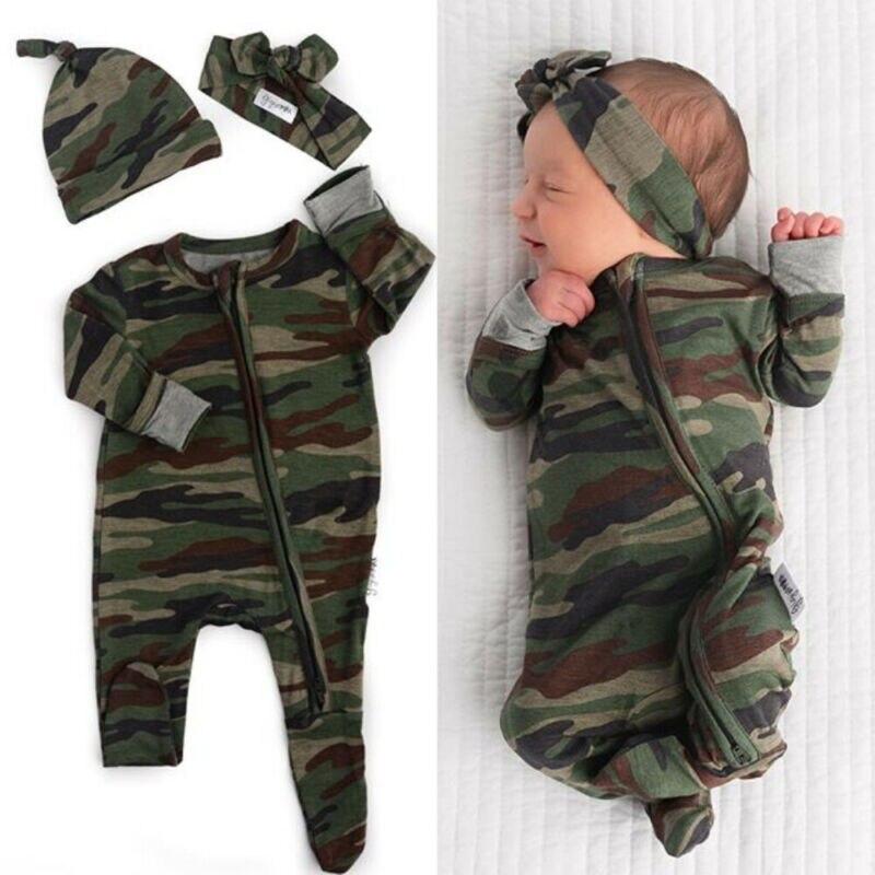 Hat Headband Baby Girls Boys Footed Pajamas Infant Zip Camo Long Sleeve Romper Footies Jumpsuit