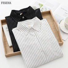 Striped Blouses Women Shirts And Tops Casual Cotton Long Sle